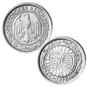 Deutsches Reich Weimarer Republik 50 Reichspfennig 1927-1938, Jaeger 324