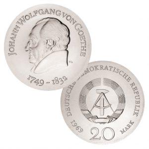 DDR, 20 Mark 1969 220. Geburtstag Johann Wolfgang von Goethe, 625er Silber, 20.9g, Ø 33mm, Prägestätte A (Berlin), Auflage: 88.589, Jaeger-Nr. 1525
