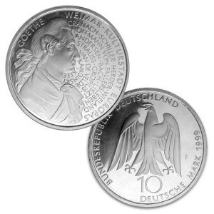 BRD 10 DM 1999 250. Geburtstag Johann Wolfgang von Goethe & Weimar – Kulturhauptstadt Europas 1999, 925er Silber, 15,5g, Ø 32,5mm, Jaeger-Nr. 473, Prägestätte F (Stuttgart), Auflage: 3.000.000, PP: Prägestätten ADFGJ, Auflage je 160.000