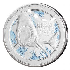 """Niue 2 Dollar 2012 """"Großer Weißer Hai"""", 999er Silber, im Etui, Auflage 5.000"""