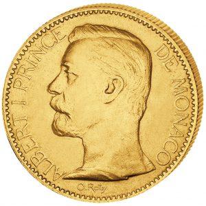 Monaco 100 Francs 1891-1904 Albert I., 900er Gold, 32,258 Gramm, Ø 35mm, ss/vz