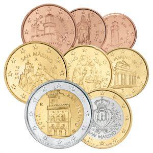 San Marino Euro-Motive - 1 Cent bis 2 Euro 2002-2016 (Erste Serie)
