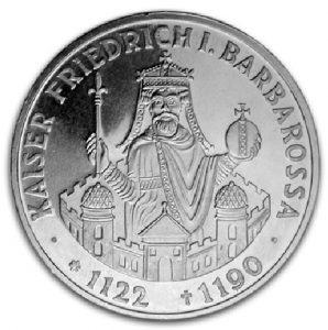 BRD 10 DM 1990 800. Todestag Kaiser Friedrich I. Barbarossa, 625er Silber, 15,5g, Ø 32,5mm, Prägestätte F (Stuttgart), Jaeger-Nr. 449, Auflage: 7.450.000 (PP: 400.000)