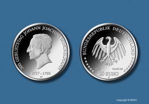 BRD 20 Euro-Silbergedenkmünze 300. Geburtstag Johann Joachim Winckelmann (Prägestätte F). Copyright BADV. Fotograf: Hans-Joachim Wuthenow, Berlin. Künstler: Andre Witting, Berlin