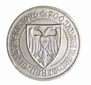 """Weimarer Republik 3 Reichsmark 1926 """"700 Jahre Reichsfreiheit Lübeck"""", 500er Silber, 15g, Ø 30mm, Prägestätte A (Berlin), Jaeger-Nr. 323, Auflage: 200.000"""