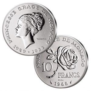 """Monaco 10 Francs 1982 """"Princesse Grace - 1929-1982"""""""
