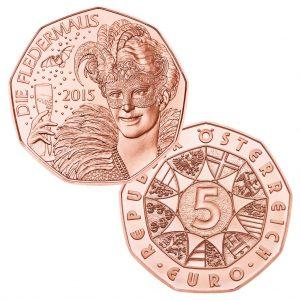 Österreich 5 Euro 2015 Neujahrsmünze - Fledermaus, 999er Kupfer, 8g, Ø 28,5mm, bankfrisch