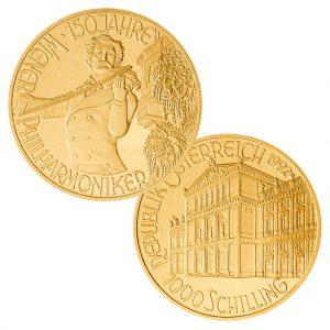 """Österreich 1000 Schillings 1992 – """"Johann Strauß als Geiger – Jubiläum 150 Jahre Wiener Philharmonie"""", 986er Gold, 16g, 30mm"""