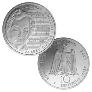 BRD 10 DM 2001 200. Geburtstag Albert Gustav Lortzing, 925er Silber, 15,5g, Ø 32,5mm, Jaeger-Nr. 478, Prägestätte J (Hamburg), Auflage: 2.500.000, PP: Prägestätten ADFGJ, Auflage je 163.000