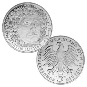 BRD 5 DM 1983 500. Geburtstag Martin Luther, Magnimat, 10g, Ø 29mm, Prägestätte G (Karlsruhe), Jaeger-Nr. 434