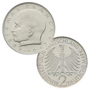 Jaeger 392 2 DM Kursmünze 1957-1971 Max Planck