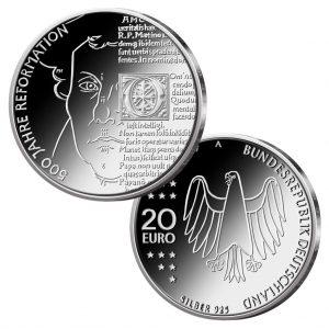 BRD 20 Euro-Gedenkmünze 2017 500 Jahre Reformation, Copyright: BADV. Fotograf: Hans-Joachim Wuthenow, Berlin. Künstler: Patrick Niesel, Schwaig