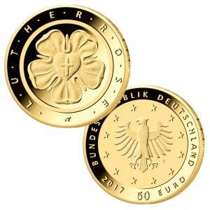 "BRD 50 Euro-Goldmünze 2017 ""Lutherrose"", Copyright: BADV"