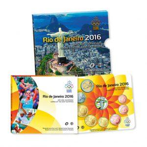 """Slowakei offizieller Kursmünzensatz 2016 """"Olympische Spiele Rio de Janeiro"""", 1 cent – 2 Euro, 8 Münzen, im Folder, handgehoben (hgh), Auflage: 9.000"""
