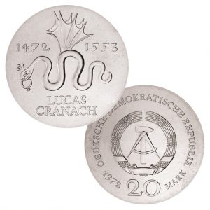 DDR, 20 Mark 1972 500. Geburtstag von Lucas Cranach d. Ä. , 625er Silber, 20.9g, Ø 33mm, Prägestätte A (Berlin), Auflage: 80.096, Jaeger-Nr. 1538