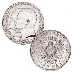 Großherzogtum Hessen 5 Mark 1904 400. Geburtstag Philipp des Großmütigen, 900er Silber, 27,778g, Ø 38mm, J. 75