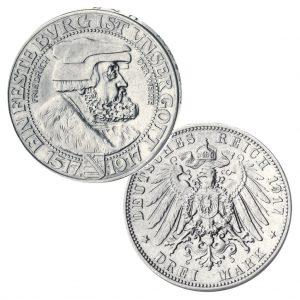Sachsen 3 Mark 1917 Friedrich der Weise, Jaeger-Nummer 141