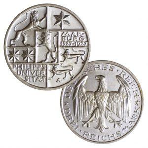 """Weimarer Republik, 3 Reichsmark 1927 """"400 Jahre Philipps-Universität Marburg"""", 500er Silber, 15g, Ø 30mm, Prägestätte A (Berlin), Jaeger-Nr. 330, Auflage: 130.000"""