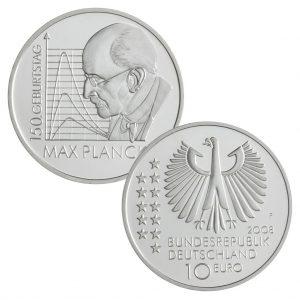 BRD 10 Euro 2008 150. Geburtstag des Physikers Max Planck, 925er Silber, 18g, Ø 32,5mm, Prägestätte F, st Auflage: 1.500.000, PP Auflage: 225.000, Jaeger-Nr. 535
