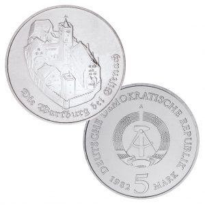 DDR, 5 Mark 1982-1983 Wartburg bei Eisenach, Neusilber (CuZnNi), 9,6g, Ø 29mm, Prägestätte A (Berlin), 1982 Auflage: 205.500 (Exportqualität: 41.000, PP: 5.500), 1983 Auflage: 21.000, Jaeger-Nr. 1586