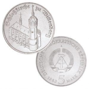 DDR, 5 Mark 1983 Schlosskirche zu Wittenberg, Neusilber (CuZnNi), 9,6g, Ø 29mm, Prägestätte A (Berlin), Auflage: 196.500 (Exportqualität: 68.300, PP: 5.500), Jaeger-Nr. 1588