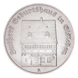 DDR 5 Mark 1983 Luthers Geburtshaus in Eisleben, Neusilber (CuZnNi), 9,6g, Ø 29mm, Prägestätte A (Berlin), Auflage: 197.680 (Exportqualität: 68.000, PP: 5.500), Jaeger-Nr. 1590