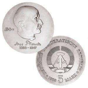 DDR 5 Mark 1983 125. Geburtstag Max Planck, Neusilber (CuZnNi), 12,2g, Ø 29mm, Prägestätte A (Berlin), Auflage: 55.800 (PP: 4.380), Jaeger-Nr. 1594