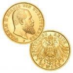 """Königreich Württemberg 20 Mark 1894-1914 """"König Wilhelm II."""", 900er Gold, 7,965g, Ø 22,5mm, Jaeger-Nr. 296"""