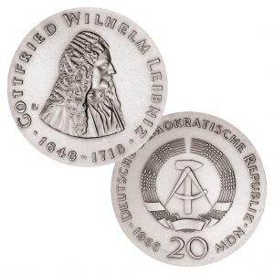 DDR 20 Mark der Notenbank 1966 250. Todestag Gottfried Wilhelm Leibniz, 800er Silber, 20,9g, Ø 33mm, Prägestätte A (Berlin), Auflage: 50.000, Jaeger-Nr. 1518