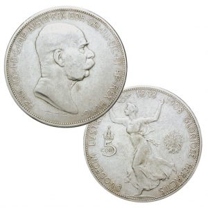 Österreich 5 Kronen 1908, 900er Silber,24g, Ø 36mm