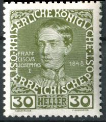 """Österreich Mi.Nr. 148 (erschienen am 1. Januar 1908 """"Kaiser Franz Joseph im Jahre 1848"""")"""