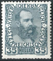 """Österreich Mi.Nr. 149 (erschienen am 1. Januar 1908 """"Kaiser Franz Joseph I. im Jahre 1878"""")"""