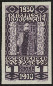 Seltene Kaiserreich-Rarität: Österreich Mi.Nr. 174 U (in gezähnter Variante am 18. August 1910 zum 80. Geburtstag des Kaisers erschienen)