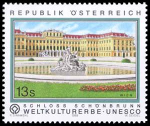 """Österreich Mi.Nr. 2277 """"Schloss Schönbrunn"""" – Geburtsort und Sterbeort Kaiser Franz Josephs I. (erschienen am 16. April 1999)"""