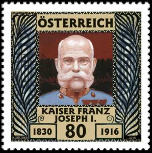 Österreich Mi.Nr. 3282 (2016 zum 100. Todestag von Kaiser Franz Joseph I. erschienen – bildlich orientiert sich die Marke an der 1908 erschienen Mi.Nr. 156)