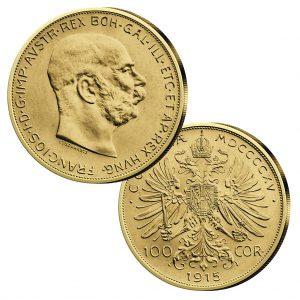 Österreich - Handelsgoldmünze 100 Kronen, Jahreszahl 1915, 900er Gold, 33,875g, Ø 37mm