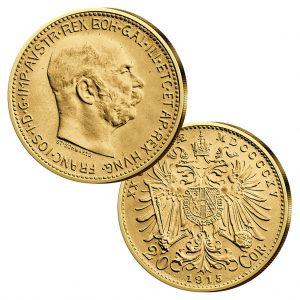 Österreich - Handelsgoldmünze 20 Kronen, Jahreszahl 1915, 900er Gold, 6,775g, Ø 21mm