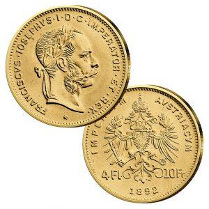 4 Florin/Gulden, Jahreszahl 1892, 900er Gold, 3,22g, Ø 19mm - österreichische Handelsgoldmünze