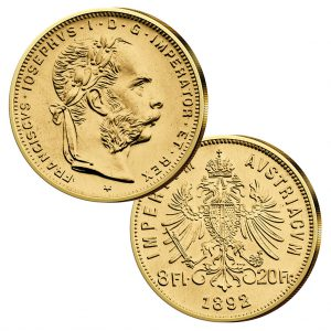 8 Florin/Gulden, Jahreszahl 1892, 900er Gold, 6,45g, Ø 21mm - österreichische Handelsgoldmünze