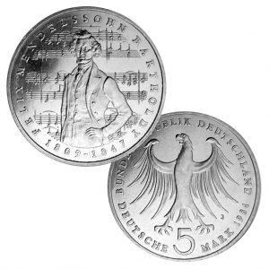 BRD 5 DM 1984 175. Geburtstag Felix Mendelssohn-Bartholdy, Magnimat, 10g, Ø 29mm, Prägestätte J (Hamburg), Jaeger-Nr. 436, Auflage: 8.000.000 (PP: 350.000)