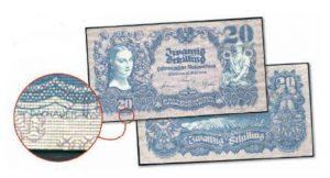 Die 20 Schilling Interimsbanknote von 1945 (Entwurf W. Dachauer)