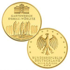 BRD 100 Euro 2013 UNESCO Weltkulturerbe – Gartenreich Dessau-Wörlitz, 999,9er Gold, 15,55g, Ø 28mm, Prägestätte ADFGJ, st Auflage: 44.000 je Prägestätte, Jaeger-Nr. 582