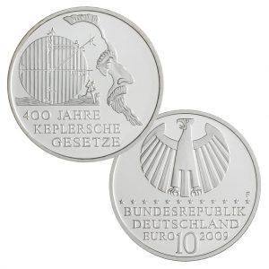BRD 10 Euro 2009 400 Jahre Keplersche Gesetze, 925er Silber, 18g, Ø 32,5mm, Prägestätte F, st Auflage: 1.500.000, PP Auflage: 200.000, Jaeger-Nr. 543