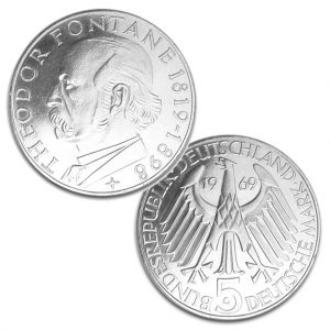 BRD 5 DM 1969 150. Geburtstag Theodor Fontane, 625er Silber, 11,2g, Ø 29mm, Prägestätte G (Karlsruhe), Jaeger-Nr. 399, Auflage: 2.900.000 (PP: 170.000)
