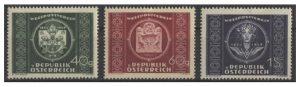 """""""75 Jahre Weltpostverein"""" - Mi.Nr. 943/45 (erschienen am 8. Oktober 1949). 1949 feiert man weltweit das 75jährige Bestehen des Weltpostvereins (UPU). Österreich verausgabt drei Werte, bei denen die Künstler Dachauer und Lorber zusammenarbeiten."""