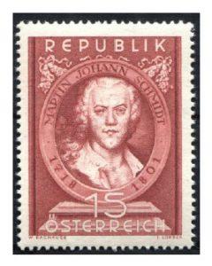 Rund vier Monate nach Dachauers Tod… geht es weiter, denn Dachauer hat einige Entwürfe vorgearbeitet. So auch die Ausgabe zum 150. Todestag von Martin Johann Schmidt (1718-1801), dem berühmten Barockmaler. Mi.Nr. 965 (erschienen am 28. Juni 1951).