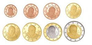 "Euro-Kursmünzen des Vatikan 1 Cent bis 2 Euro mit Motiv ""Papst Benedikt XVI."""