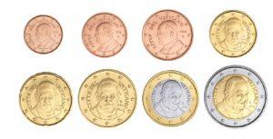 "Euro-Kursmünzen des Vatikan 1 Cent bis 2 Euro mit Motiv ""Papst Franziskus"""
