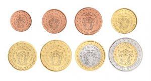 "Euro-Kursmünzen des Vatikan 1 Cent bis 2 Euro 2005 mit Motiv ""Sedisvakanz"""
