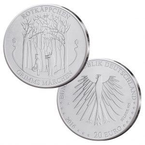 """BRD 20 Euro Gedenkmünze 2016 """"Grimms Märchen – Rotkäppchen"""""""